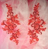 """Embroidered Venice Lace Sequin Appliques Red Floral Venice Lace Mirror Pair 9.5"""" (DH110X)"""
