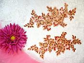 """Sequined Venice Lace Appliques Red Gold Floral Bling Mirror Pair Motif Patch 10"""" (DH111X)"""