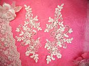 "Embroidered Venice Lace Sequin Appliques White Floral Venice Lace Mirror Pair 9.5"" (DH110X)"