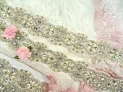 Trim Silver Beaded Glass Crystal Rhinestone with Pearls Bridal Banding  (DH113)