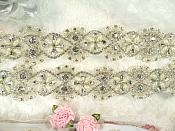Trim Silver Beaded Glass Crystal Rhinestone with Pearls Bridal Banding  (DH113)