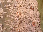 Embroidered 3D Fabric Coral Floral Design (Can be Cut for Appliques) (GB531)
