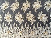 Embroidered 3D Fabric Gold Floral Design (Can be Cut for Appliques) (GB531)