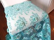 Embroidered 3D Fabric Teal Floral Design (Can be Cut for Appliques) (GB531)