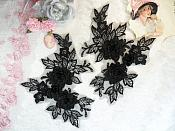 """Beautiful NEW ARRIVAL 3D Embroidered Lace Appliques Black Floral Venice Lace Mirror Pair 7.5"""" (DH114X)"""