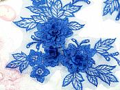"""Beautiful NEW ARRIVAL 3D Embroidered Lace Appliques Blue Floral Venice Lace Mirror Pair 7.5"""" (DH114X)"""