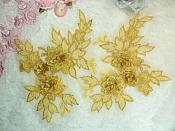 """Beautiful NEW ARRIVAL 3D Embroidered Lace Appliques Gold Floral Venice Lace Mirror Pair 7.5"""" (DH114X)"""