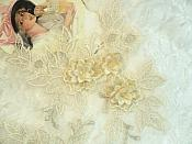 "Beautiful NEW ARRIVAL 3D Embroidered Lace Appliques Ivory Floral Venice Lace Mirror Pair 7.5"" BL133x"