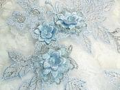 """Beautiful NEW ARRIVAL 3D Embroidered Lace Appliques Pastel Blue Silver Floral Venice Lace Mirror Pair 7.5"""" BL133x"""