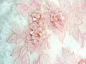 """Beautiful 3D Embroidered Lace Appliques Pink Floral Venice Lace Mirror Pair 7.5"""" BL133X"""