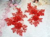 """Beautiful NEW ARRIVAL 3D Embroidered Lace Appliques Red Floral Venice Lace Mirror Pair 7.5"""" (DH114X)"""
