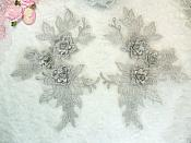 """Beautiful NEW ARRIVAL 3D Embroidered Lace Appliques Silver Floral Venice Lace Mirror Pair 7.5"""" (DH114X)"""