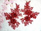 """Beautiful NEW ARRIVAL 3D Embroidered Lace Appliques Burgundy Wine Floral Venice Lace Mirror Pair 7.5"""" (DH114X)"""