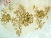 "3D Embroidered Applique Gold Beige Floral Venice Lace 12"" (DH115)"