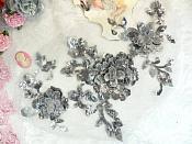 "3D Embroidered Applique Gunmetal Silver Floral Venice Lace 12"" (DH115)"