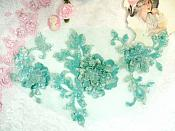 "3D Embroidered Applique Seafoam Teal Green Floral Venice Lace 12"" (DH115)"