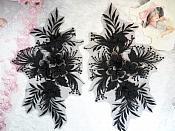 "3D Embroidered Lace Appliques Black Gunmetal Floral Venice Lace Mirror Pair 12.5"" (DH116X)"