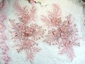"""3D Embroidered Lace Appliques Pink Mauve Floral Venice Lace Mirror Pair 12.5"""" (DH116X)"""