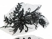 "Embroidered Lace Applique Mirror Pair Floral design accented w/ Sequins and Beads Black 8"" (DH117X)"