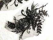 """Embroidered Lace Applique Mirror Pair Floral design accented w/ Sequins and Beads Black 8"""" (DH117X)"""