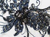 "Embroidered Lace Applique Mirror Pair Floral design accented w/ Sequins and Beads Navy Blue 8"" (DH117X)"