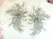 "Embroidered Lace Applique Mirror Pair Floral design accented w/ Sequins and Beads Silver 8"" (DH117X)"