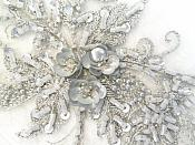 """Embroidered Lace Applique Mirror Pair Floral design accented w/ Sequins and Beads Silver 8"""" (DH117X)"""