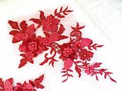 """Embroidered Applique Burgundy Floral Venice Lace Mirror Pair 10.5"""" (DH118X)"""