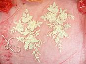 "Embroidered Applique Ivory Floral Venice Lace Mirror Pair 10.5"" (DH118X)"