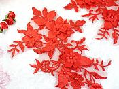 """Embroidered Applique Red Floral Venice Lace Mirror Pair 10.5"""" (DH118X)"""