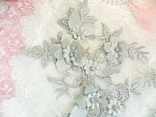 "Embroidered Applique Silver Floral Venice Lace Mirror Pair 10.5"" (DH118X)"