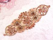 "Rose Gold Rhinestone Applique Rose Gold Pearl Beaded Motif 6"" (DH119)"