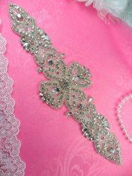"DH12 Designer Crystal Glass Rhinestone Silver Beaded Applique 10.5"""
