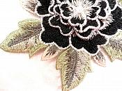 3D Embroidered Applique Black Single Floral Sewing Supply Clothing Patch  DH122