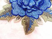 3D Embroidered Applique Blue Single Floral Sewing Supply Clothing Patch  DH122