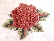 3D Embroidered Applique Mauve Single Floral Sewing Supply Clothing Patch  DH122