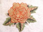 3D Embroidered Applique Peach Single Floral Sewing Supply Clothing Patch  DH122