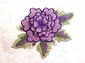 3D Embroidered Applique Purple Single Floral Sewing Supply Clothing Patch  DH122