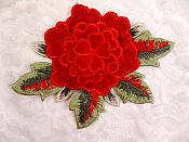 3D Embroidered Applique Red Single Floral Sewing Supply Clothing Patch  DH122