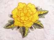 3D Embroidered Applique Yellow Single Floral Sewing Supply Clothing Patch  DH122