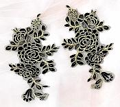 Rose Appliques Lace Embroidered Mirror Pair Black w/ Gold DH124X