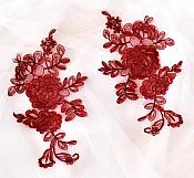 Rose Appliques Lace Embroidered Mirror Pair Burgundy DH124X
