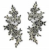 Rose Appliques Lace Embroidered Mirror Pair Black w/ Gold Dance Costume Motif DH127X