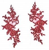 Rose Appliques Lace Embroidered Mirror Pair Burgundy Dance Costume Motif DH127X