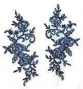 Rose Appliques Lace Embroidered Mirror Pair Navy Dance Costume Motif DH127X
