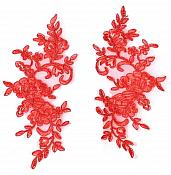Rose Appliques Lace Embroidered Mirror Pair Red Dance Costume Motif DH127X
