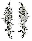 Designer Appliques Lace Embroidered Mirror Pair Black w/ Gold Costume Patch DH128X