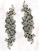 """Rose Appliques Lace Embroidered Clusters Mirror Pair Black Gold 13"""" DH129X"""