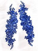"""Rose Appliques Lace Embroidered Clusters Mirror Pair Royal Blue13"""" DH129X"""