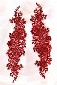 """Rose Appliques Lace Embroidered Clusters Mirror Pair Burgundy 13"""" DH129X"""